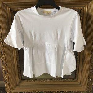 Crisp white T shirt with ruffles